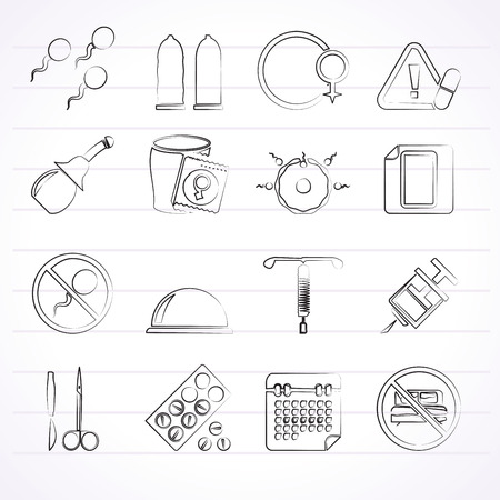 sterilization: Pregnancy and contraception Icons - vector icon set