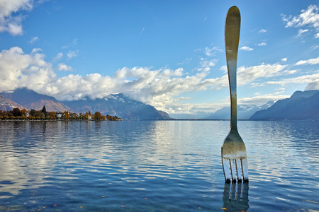 vevey: Amazing panorama of Lake Geneva from town of Vevey, canton of Vaud, Switzerland