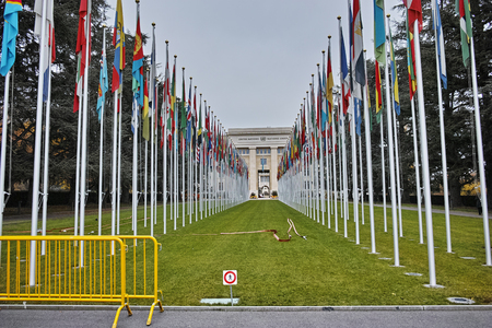 united nations: United nations building with flags in Geneva, Switzerland