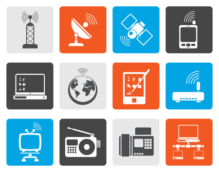 cellular repeater: Flat communication and technology icons - vector icon set