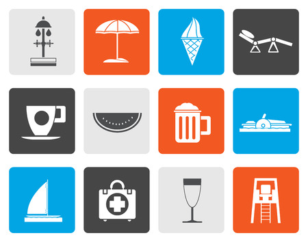 watermelon boat: Flat beach and holiday icons - vector icon set Illustration
