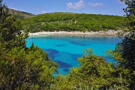 cefalonia: amazing panorama of Emblisi Fiskardo Beach, Kefalonia, Ionian islands, Greece Stock Photo