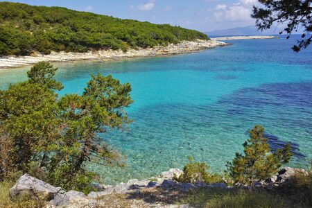cefalonia: Panoramic view of Emblisi Fiskardo Beach, Kefalonia, Ionian islands, Greece