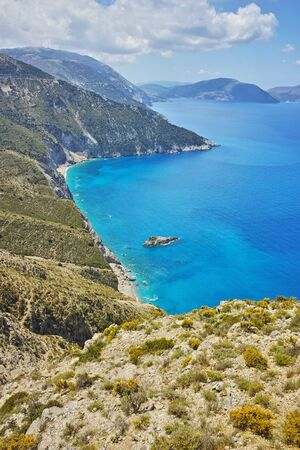 cefallonia: Amazing panorama of mountains and coastline of Kefalonia, Ionian islands, Greece Stock Photo