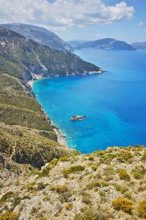 cefallonia: Amazing panorama of mountains and coastline of Kefalonia, Ionian islands, Greece Stock Photo