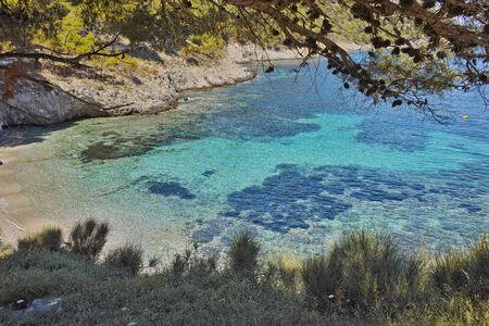 cefallonia: View of Assos beach and beautiful sea bay, Kefalonia, Ionian islands, Greece