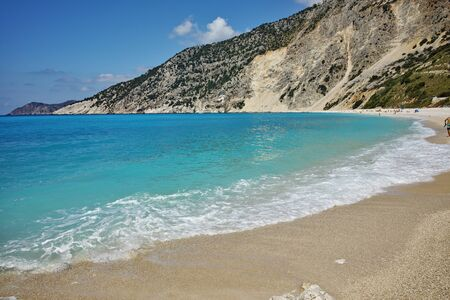 cefallonia: Blue water of beautiful Myrtos beach, Kefalonia, Ionian islands, Greece