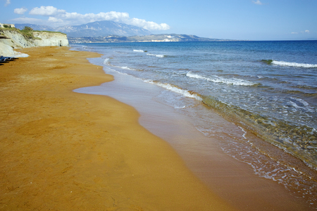 cefalonia: amazing view of Xi Beach,beach with red sand in Kefalonia, Ionian islands, Greece