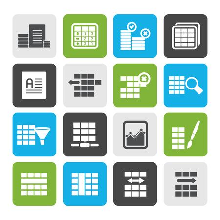 Flache Datenbank und Tabellen-Formatierungs-Ikonen eingestellt
