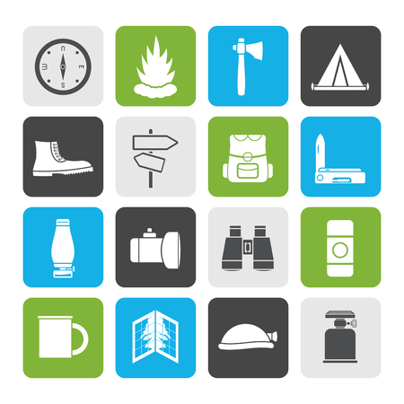 camping site: Flat Tourism and Holiday icons Set Illustration