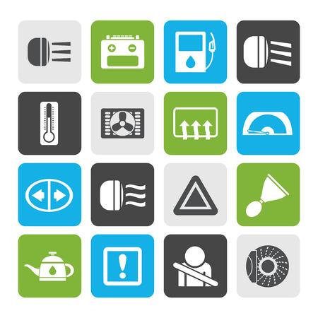 car dashboard: Flat Car Dashboard - realistic icons set