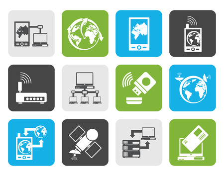 mobile communication: Flat communication, computer and mobile phone icons Illustration