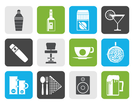 night club: Flat Night club, bar and drink icons