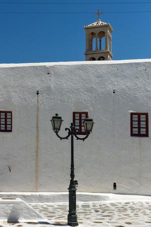 ano: Belfry of of Panagia Tourliani monastery inTown of Ano Mera, island of Mykonos, Cyclades, Greece