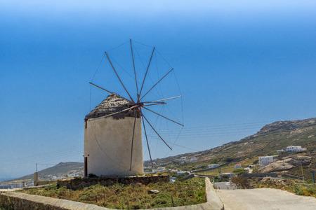 ano: White windmill in Town of Ano Mera, island of Mykonos, Cyclades, Greece