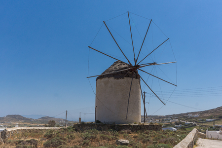 ano: Old windmill in Town of Ano Mera, island of Mykonos, Cyclades, Greece