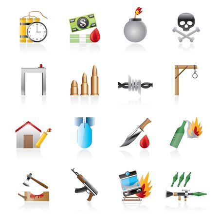 automat: terrorism and gangster equipment icons
