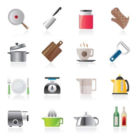 kitchen equipment: home kitchen equipment icons Illustration