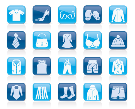 t shirt blouse: Fashion and clothing and accessories icons Illustration