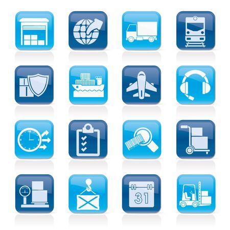 dock: Logistic, cargo and transportation icons Illustration