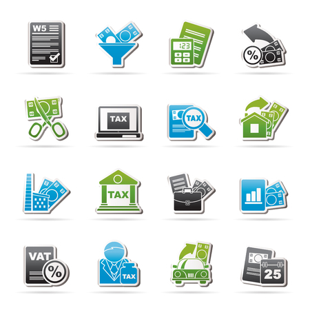 tax return: Taxes, business and finance icons