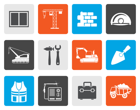 bagger: Flat building and construction icons - vector icon set