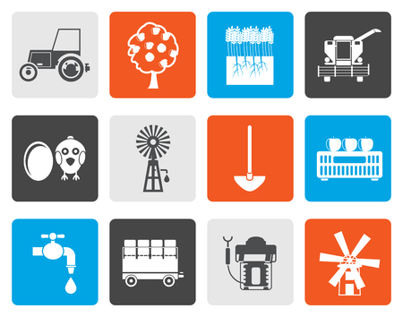 hay bale: Flat farming industry and farming tools icons - vector icon set