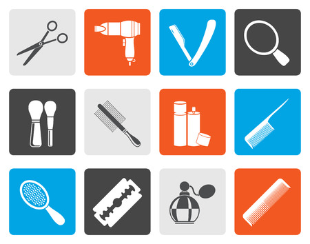 hair drier: Flat cosmetic, make up and hairdressing icons - vector icon set Illustration