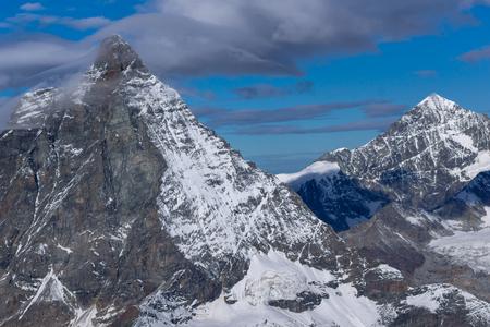 valais: Winter landscape of swiss Alps with Matterhorn, Canton of Valais, Switzerland Stock Photo