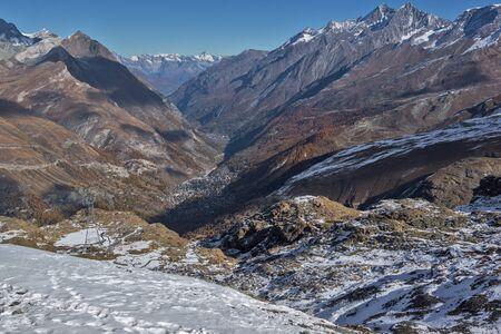 valais: Panoramic view to Zermatt Resort, Alps, Canton of Valais, Switzerland