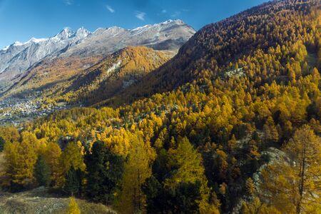 valais: Amazing autumn panorama of Swiss Alps, Canton of Valais, Switzerland