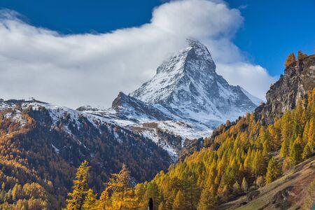 valais: autumn Landscape of Mount Matterhorn, Canton of Valais, Switzerland