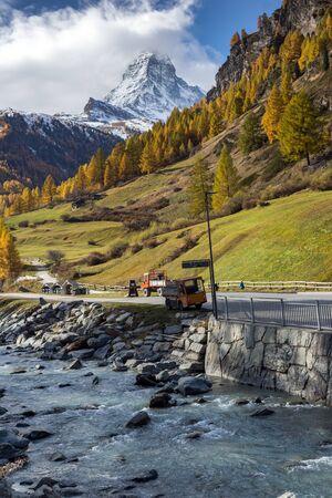 valais: autumn Landscape of Mount Matterhorn, Canton of Valais,Switzerland