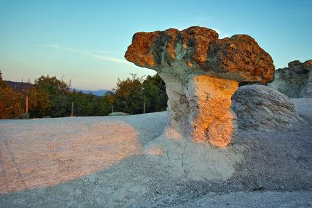 Prodigy: Stone Mushrooms colored in yellow from Sunrise near Beli plast village, Kardzhali Region, Bulgaria Zdjęcie Seryjne