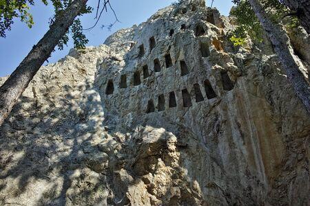truncated: Ruins of Thracian Sanctuary Eagle Rocks near town of Ardino, Kardzhali Region, Bulgaria Stock Photo