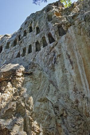 truncated: Panoramic view of Thracian Sanctuary Eagle Rocks near town of Ardino, Kardzhali Region, Bulgaria Stock Photo