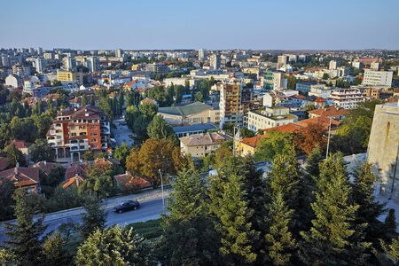 haskovo: Panoramic view of City of Haskovo from Monument of Virgin Mary, Bulgaria