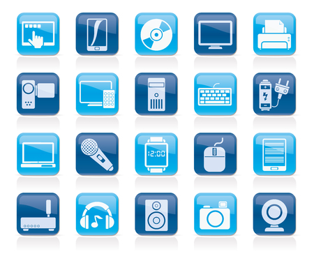 multimedia icons: home electronics and personal multimedia devices icons - vector icon set