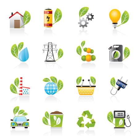 power pole: Green, Ecology and environment icons - vector icon set Illustration