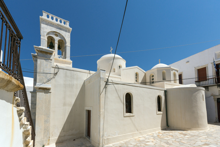 chora: White Catholic church in the fortress in Chora town, Naxos Island, Cyclades, Greece Stock Photo