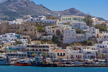 chora: Panoramic view of Chora town, Naxos Island, Cyclades, Greece