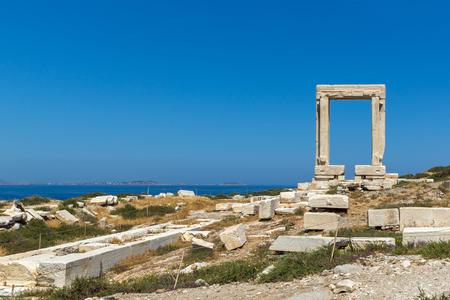 naxos: Panoramic view of Portara, Apollo Temple Entrance, Naxos Island, Cyclades, Greece