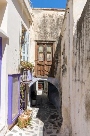 naxos: Small street in Chora town, Naxos Island, Cyclades, Greece Stock Photo