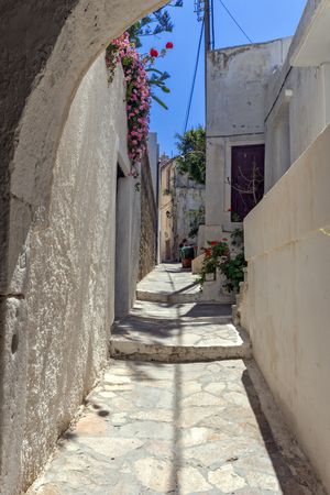 naxos: Small street in the fortress in Chora town, Naxos Island, Cyclades, Greece