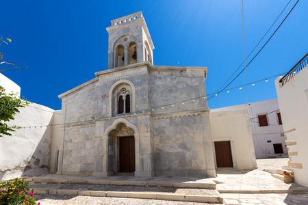 naxos: Catholic church in the fortress in Chora town, Naxos Island, Cyclades, Greece
