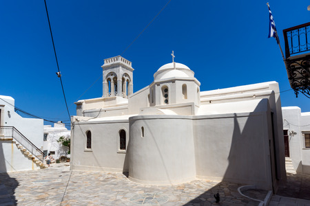chora: Catholic church and Square in the fortress in Chora town, Naxos Island, Cyclades, Greece