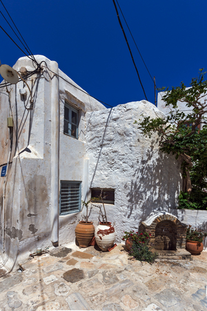 chora: Old houses in the fortress in Chora town, Naxos Island, Cyclades, Greece