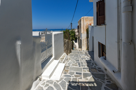 chora: Street and white houses in Chora town, Naxos Island, Cyclades, Greece Stock Photo