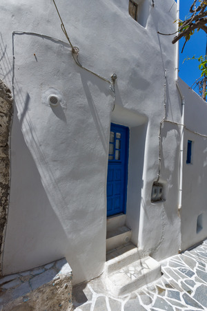 chora: White wall of old house in Chora town, Naxos Island, Cyclades, Greece