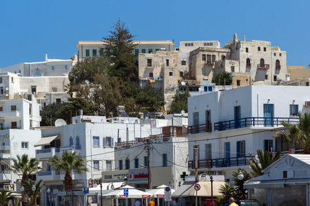chora: Panoramic view of the fortress in Chora town, Naxos Island, Cyclades, Greece Editorial